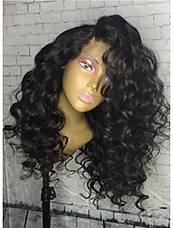cheap -Remy Lace Wig Curly Lace Front Glueless Lace Front 100% Hand Tied African American Wig Natural Hairline 150% 180% Density Natural Black