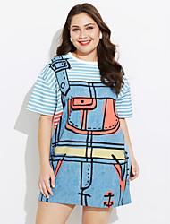 abordables -Mujer Vaina Vestido Trabajo Un Color A Rayas Estampado Escote Redondo Hasta la Rodilla Manga Corta Algodón Primavera Tiro Medio
