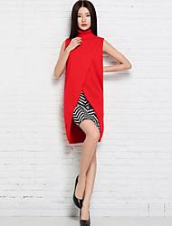 Standard Pullover Da donna-Per uscire Ufficio Sensuale Tinta unita A collo alto Senza maniche Cashmere Autunno Inverno Sottile Spesso