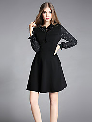 YIYEXINXIANGWomen's Going out Work Simple A Line DressPolka Dot Asymmetrical Above Knee Long Sleeves Rayon Polyester Nylon Spandex Fall High Rise