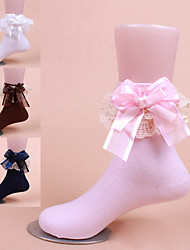 Lace Bowknot Cotton Bow Elastic Floral Short Socks