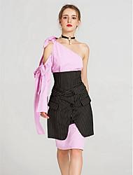 baratos -Mulheres Moda de Rua Bodycon Saias - Listrado, Fenda