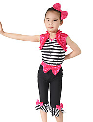 cheap -Kids' Dancewear Outfits Performance Spandex Elastic Elastane Stretch Satin Bow(s) Crystals / Rhinestones Ruffles Sleeveless Natural Top