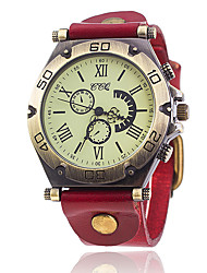 abordables -Hombre Cuarzo Reloj Pulsera Chino Gran venta Piel Banda Vintage Casual Reloj creativo único Elegant Moda Negro Blanco Azul Rojo Naranja
