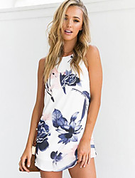 cheap -Women's Daily Cute Sexy Skater Dress,Floral Strap Mini Sleeveless Others Summer Mid Rise Micro-elastic Medium