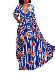 Gaine Balançoire Robe Femme Soirée Vacances Sexy Vintage Bohème,Rayé Fleur Col en V Maxi Manches Longues Polyester Printemps Automne