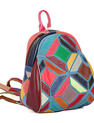 Women Bags All Seasons Cowhide Backpack for Casual Outdoor Rainbow