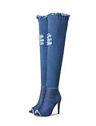 Women's Boots Cowboy / Western Boots Fashion Boots Fall Winter Denim Dress Party & Evening Zipper Stiletto Heel Blue 3in-3 3/4in