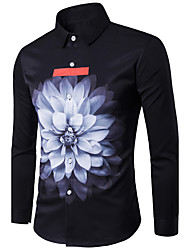 New Arrival  Men's Casual/Daily Simple Spring Summer Fall ShirtSolid Print Classic Collar Long Sleeves Cotton Thin
