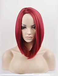 preiswerte -Synthetische Haare Perücken Gerade Bubikopf Kappenlos Natürliche Perücke Medium Rot