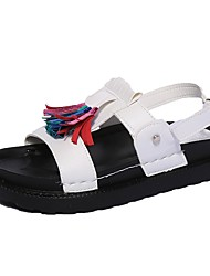cheap -Women's Shoes Leather Summer Comfort Sandals Walking Shoes Low Heel Round Toe Tassel for Casual White Black Gray Red Screen Color