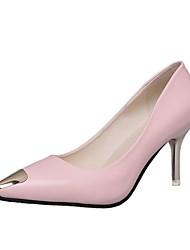 Women's Heels Light Soles Summer PU Casual Dress Stiletto Heel Blushing Pink Ruby Black White 2in-2 3/4in