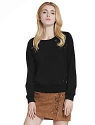 Dámské Jednobarevné Dovolená Jdeme ven Běžné/Denní Vintage Jednoduché Tričko-Jaro Podzim Bavlna Polyester Kulatý Dlouhý rukáv