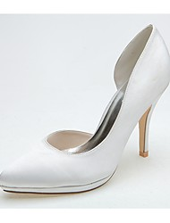 Women's Wedding Shoes Formal Shoes Satin Spring Summer Wedding Party & Evening Stiletto Heel Ivory Silver Black 4in-4 3/4in