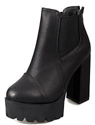 Для женщин Обувь Натуральная кожа Полиуретан Зима Удобная обувь Туфли лодочки Ботинки Назначение Повседневные Черный Коричневый