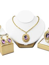 Femme Bracelets Rigides Boucles d'oreille goutte Collier Améthyste Vintage Bijoux de Luxe Elegant Cristal Forme de Cercle Pour Mariage