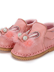 cheap -Girls' Shoes Leather Winter Ballerina Comfort Flats Crystal Feather Beading Pearl Magic Tape for Casual Outdoor Gray Red Pink