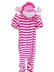 Kigurumi Pajamas Cat Festival/Holiday Animal Sleepwear Halloween Fuschia Fashion Stripe Embroidered Flannel Fabric Cosplay Costumes