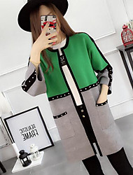 cheap -Women's Long Sleeves Long Cardigan - Color Block, Print Shirt Collar