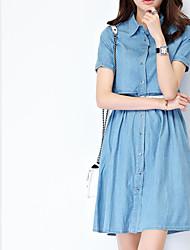 economico -Linea A Fodero Jeans Vestito Da donna-Per uscire Casual Sensuale Romantico Moda città Tinta unita Colletto Sopra il ginocchio Mezza manica