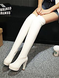 Women's Shoes PU Fall Winter Comfort Boots For Casual White Black