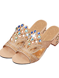 cheap -Women's Shoes PU Summer Fall Comfort Novelty Slingback Sandals Chunky Heel Peep Toe Rhinestone for Dress Party & Evening Outdoor Office &
