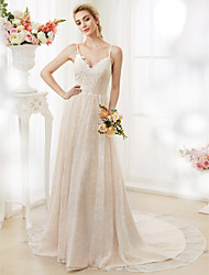 cheap -A-Line Spaghetti Straps Court Train Lace Wedding Dress with Appliques Buttons by LAN TING BRIDE®