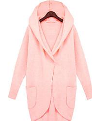 Damen Solide Einfach Lässig/Alltäglich Mantel,Mit Kapuze Herbst Winter Lange Ärmel Standard Baumwolle