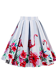 cheap -Women's Going out Holiday Cotton A Line Skirts - Floral