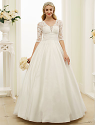 cheap -Ball Gown Plunging Neckline Floor Length Lace Taffeta Custom Wedding Dresses with Buttons Ruched by LAN TING BRIDE®