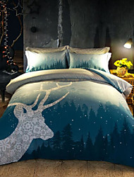 cheap -Cartoon 4 Piece Cotton Cotton 4pcs (1 Duvet Cover, 1 Flat Sheet, 2 Shams)
