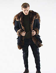 cheap -Men's Daily Work Simple Casual Winter Long Fur Coat,Solid Shawl Lapel Fox Fur Raccoon Fur