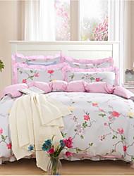 Недорогие -Цветы 4 предмета Хлопок Хлопок 1 пододеяльник 2 декоративных чехла 1 простынь на резинке
