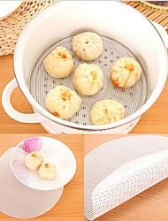 cheap -Silicone Steamer Non-Stick Pad Round Dumplings Mat Steamed Buns Baking Pastry Dim Sum Mesh 22CM