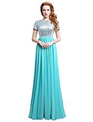 baratos -Tubinho Decorado com Bijuteria Longo Chiffon Paetês Ensaio de Casamento Evento Formal Vestido com Lantejoulas de Sarahbridal