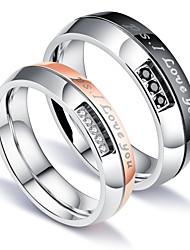 preiswerte -Herrn Damen Eheringe Kubikzirkonia Elegant Modisch Simple Style Kubikzirkonia Titanstahl Kreisform Modeschmuck Hochzeit Verlobung Alltag