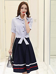 cheap -Women's Daily Casual Summer Shirt Skirt Suits,Striped Shirt Collar Short Sleeve Cotton