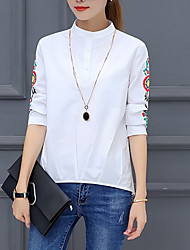 Women's Going out Casual/Daily Simple Boho Shirt,Striped Round Neck Long Sleeves Cotton