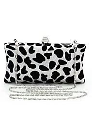 cheap -Women's Bags PVC Evening Bag Leopard Crystal Chain for Wedding Event/Party Spring Summer Black-white