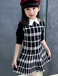 cheap -Girl's Plaid Dress,Cotton Spring Fall Long Sleeve Check Black Red