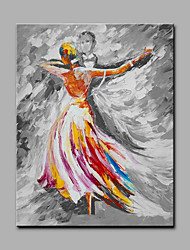 Hand-Painted Dancing People Vertical Art Deco/Retro One Panel Canvas Oil Painting for Home Decoration