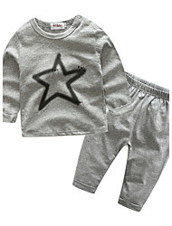 cheap -Baby Children's Sport Outdoor Casual/Daily Sports Clothing Set, Cotton Spring/Fall Cartoon Long Sleeves Gray
