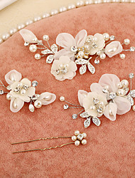 cheap -Tulle Imitation Pearl Rhinestone Silk Alloy Flowers Hair Stick Hair Clip 1 Wedding Special Occasion Birthday Party / Evening Headpiece