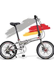 Biciclette pieghevoli Ciclismo 7 Velocità 20 pollici Shimano Disco freno Anti-smorzamento Telaio in lega d'alluminio Ripiegabile Alluminio