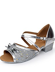 Women's Kids' Dance Shoes Sparkling Glitter Paillette Synthetic Flats Sandals Indoor Bowknot Sequin Ruffles Buckle Ruched Low HeelBlue