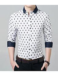 cheap -Men's Cotton Shirt - Geometric / Long Sleeve