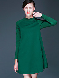 cheap -Women's Daily Going out Plus Size Street chic Sweater Dress,Solid Round Neck Above Knee Long Sleeves Polyester Spandex Winter Fall Mid