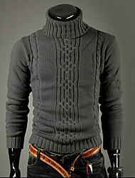 cheap -Men's Daily Going out Work Street chic Regular Pullover,Solid Turtleneck Long Sleeves Rayon Winter Thick Micro-elastic