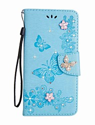 cheap -Case for Samsung Galaxy S8 S8 Plus Wallet Rhinestone Embossed Butterfly PU Leather Case for Samsung Galaxy S7 S7 Edge S6 S6 Edge S5 S5 mini S4 S4 mini