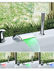 Farbwechsel 3-Loch-Armatur Wasserfall Mehrere Lampenschirme with  Keramisches Ventil Einhand Drei Löcher for  Chrom , Badewannenarmaturen